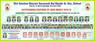 Outstanding features of CBSE Result 2018-19 of Saraswati Bal Mandir Punjabi Bagh