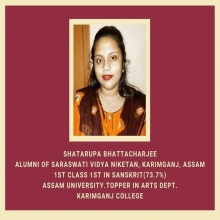 Shatarupa B., alumni , achieved 1st class, 1st in Sanskrit